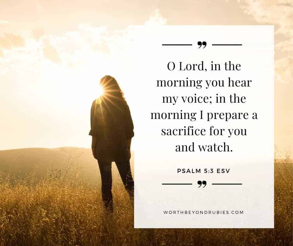 Finding God - an image of a woman in a field looking at the sunrise with Psalm 5:3 quoted