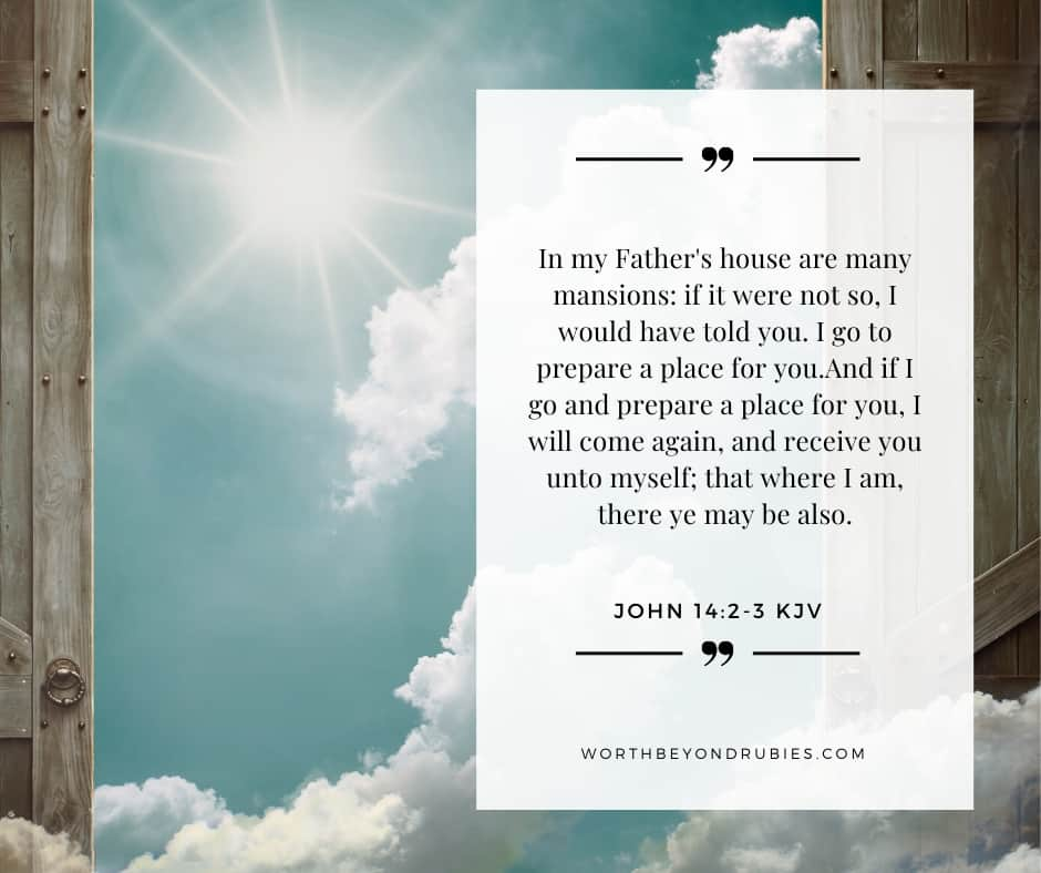 An image of a door open in Heaven and a quote from John 14:2-3