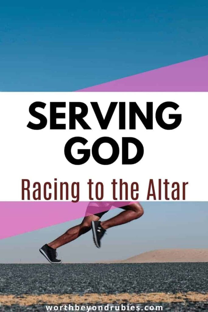 An image of a race track and a text overlay that says Serving God in the Every Day - Racing to the Altar