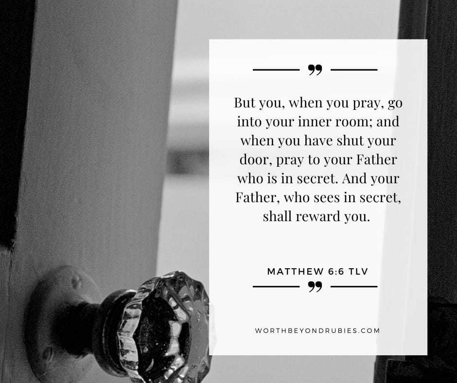 An image of a door knob and a half opened door with Matthew 6:6 quoted
