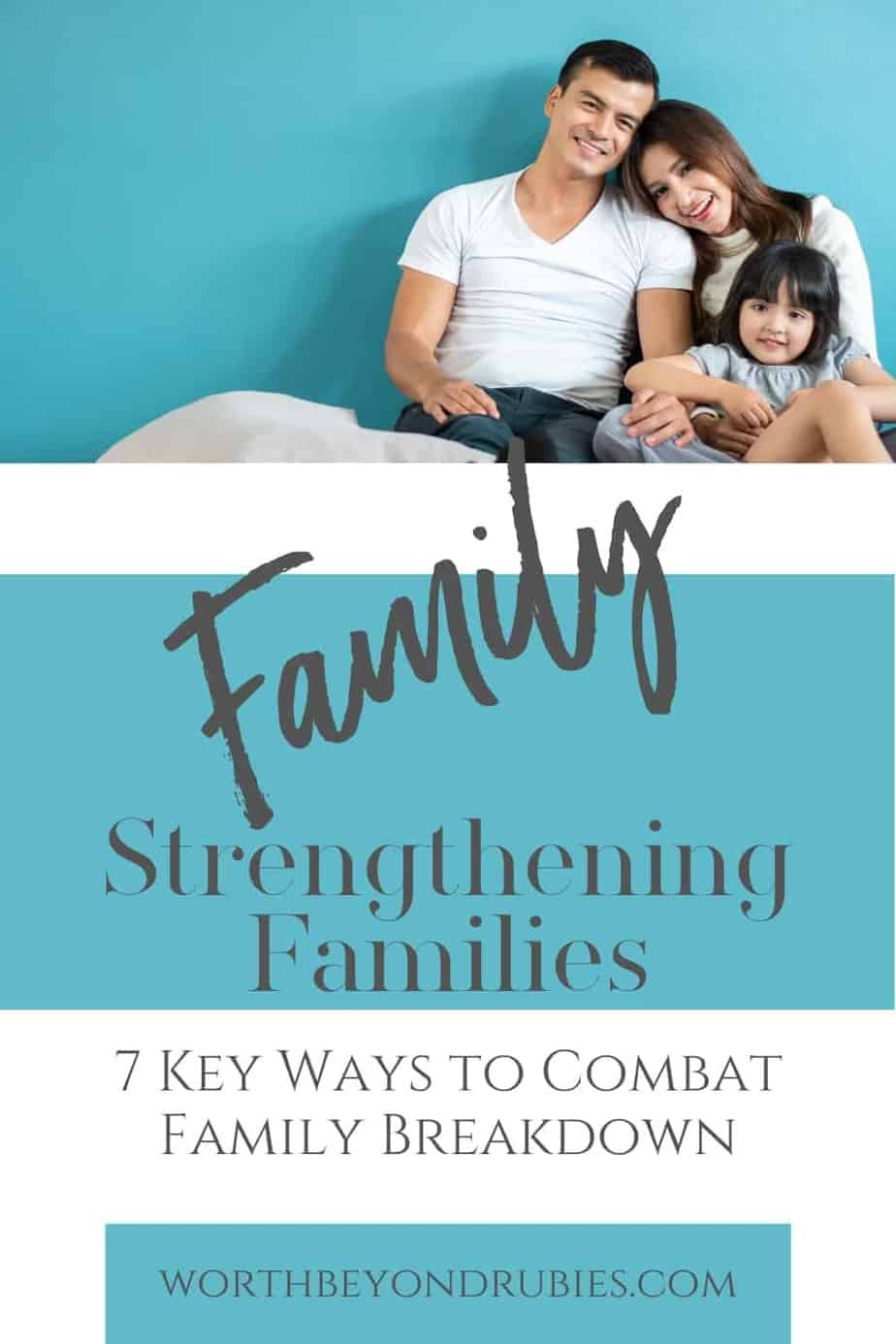 An image of two parents and a toddler against a blue background and text that says Strengthening Families - 7 Key Ways to Combat Family Breakdown