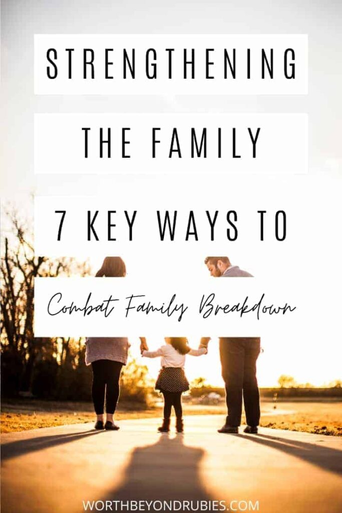 An image of two parents each holding the hands of a toddler, facing away against a sunset sky and text that says Strengthening Families - 7 Key Ways to Combat Family Breakdown
