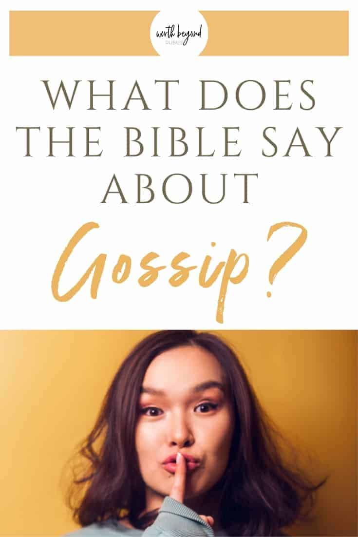 A woman with her finger over her lips making a shush gesture and text that says What Does the Bible Say About Gossip?