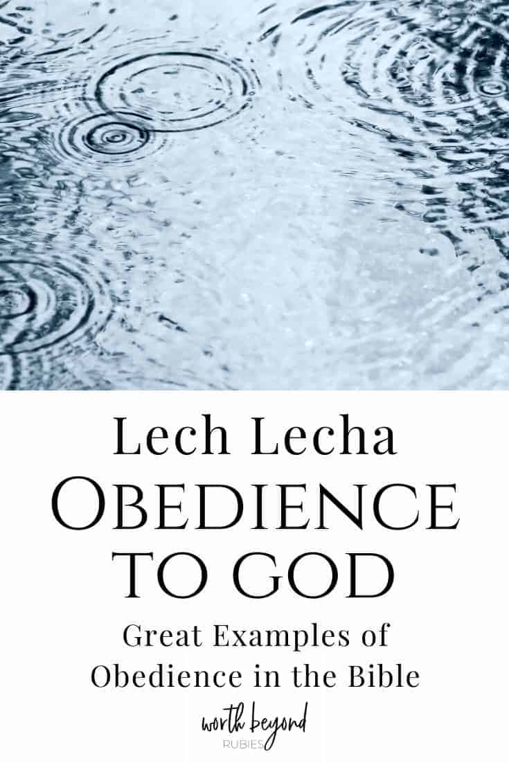 An image of rain falling into a ouddle of water and text that says Lech Lecha - Obedience to God: Great Examples of Obedience in the Bible