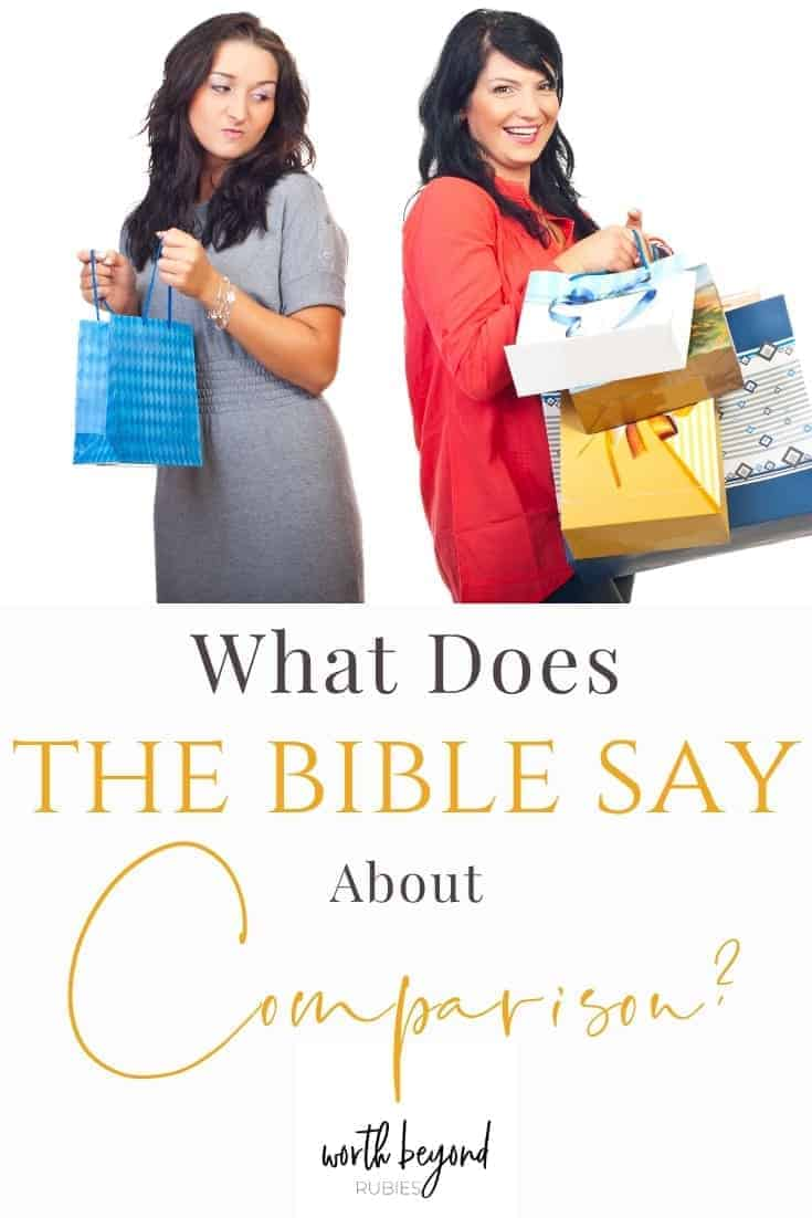 An envious woman holding a shopping bag looking at another woman holding many and a text overlay saying What Does the Bible Say About Comparison?