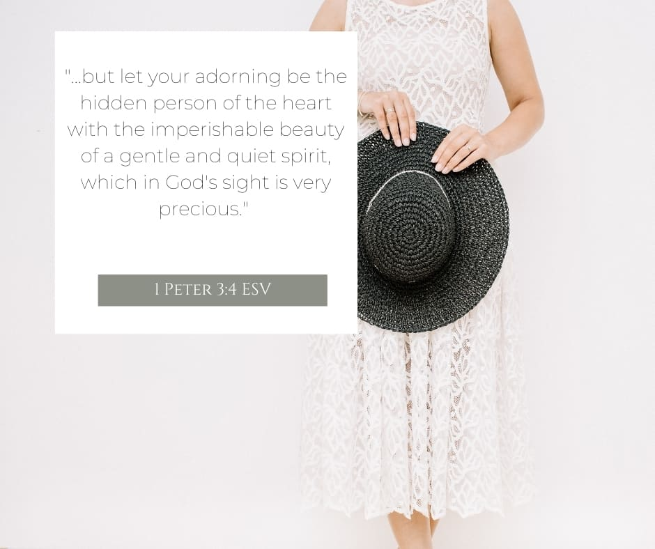 A woman from the neck down in a dress holding a black hat in her hand and Peter 3:4 quoted from the ESV