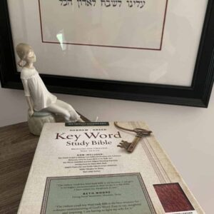 An image of the Hebrew-Greek NASB Key Word Study Bible from personalizedbibles.com sitting on a shelf with a figurine behind it and Hebrew artwork behind it