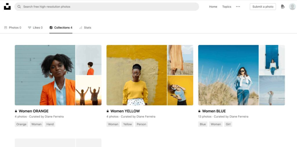 A screenshot of unsplash.com showing my collection of images of women based on various colors in the images, like yellow, blue, orange