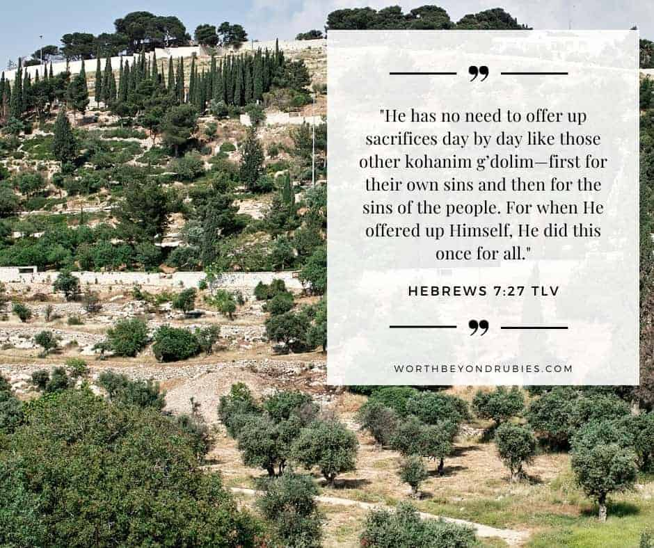 The Mount of Olives with a text overlay quoting Hebrews 7:27 in Tree of Life version for post What is the Day of Atonement