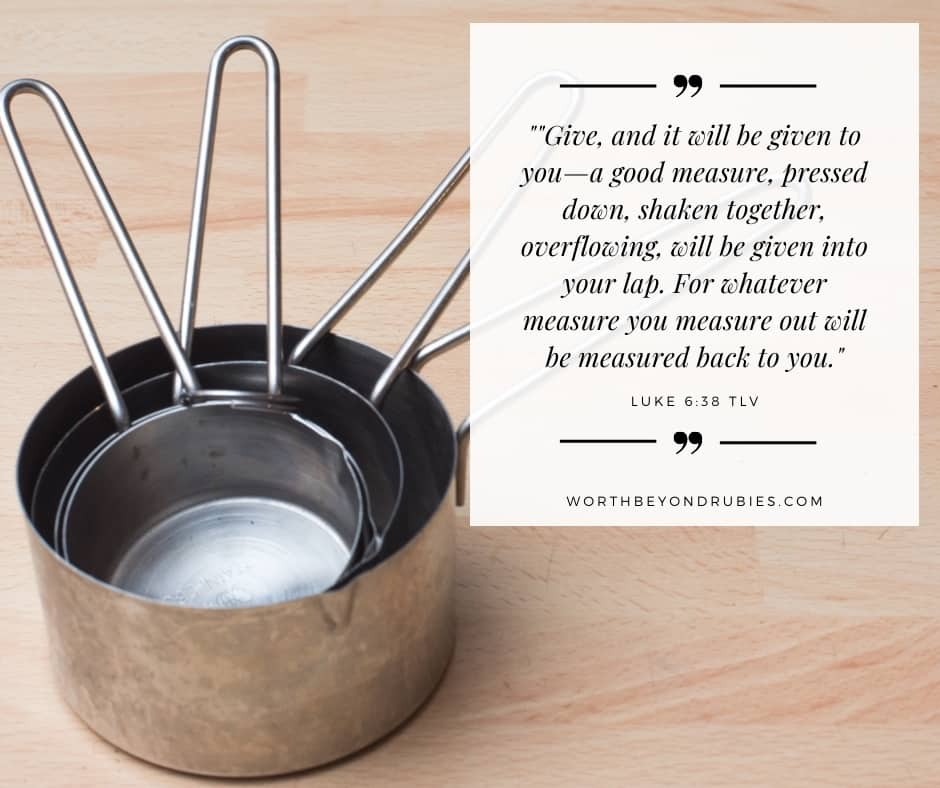 Silver measuring cups and Luke 6:38 quoted in TLV