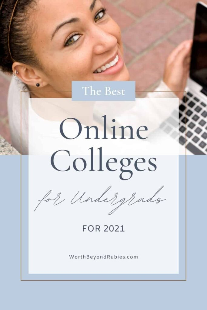 An image of a young, black woman looking up at the camera smiling while she holds a laptop in her hands and a text overlay that says The Best Online Colleges for Undergraduates for 2021