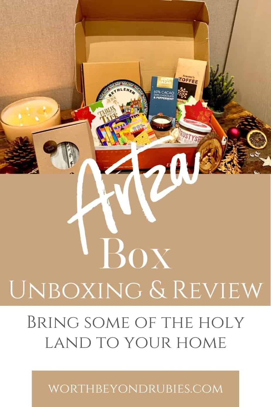 An image of the Artza Box Bethlehem subscription box and text that says Artza Box Unboxing and Review - Bring Some of the Holy Land Home