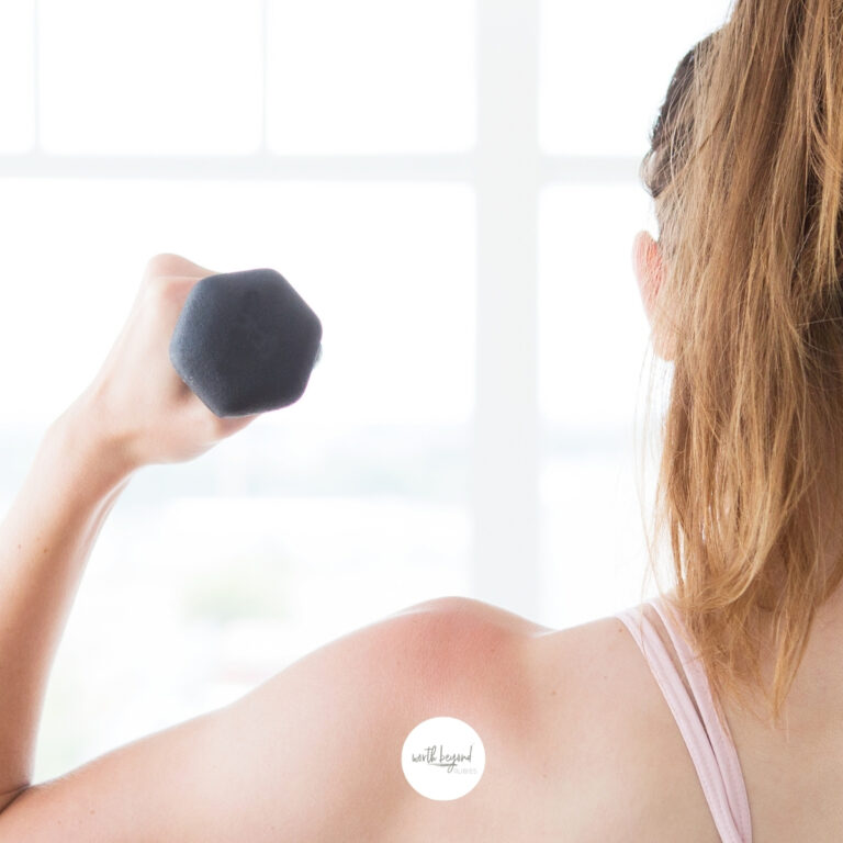 An image of a woman lifting a dumbbell facing away from the camera in a gym - for post titled Exercise Your Faith for Spiritual Maturity - Be Spiritually Fit