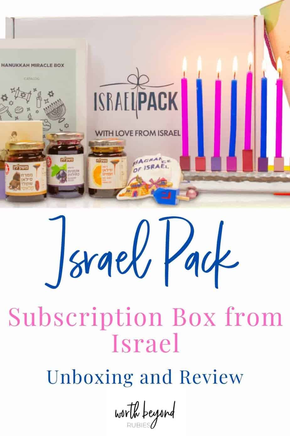 An image of the Israel Pack Subscription Box for November 2020 with a text overlay that says Israel Pack Subscription Box from Israel - Unboxing and Review