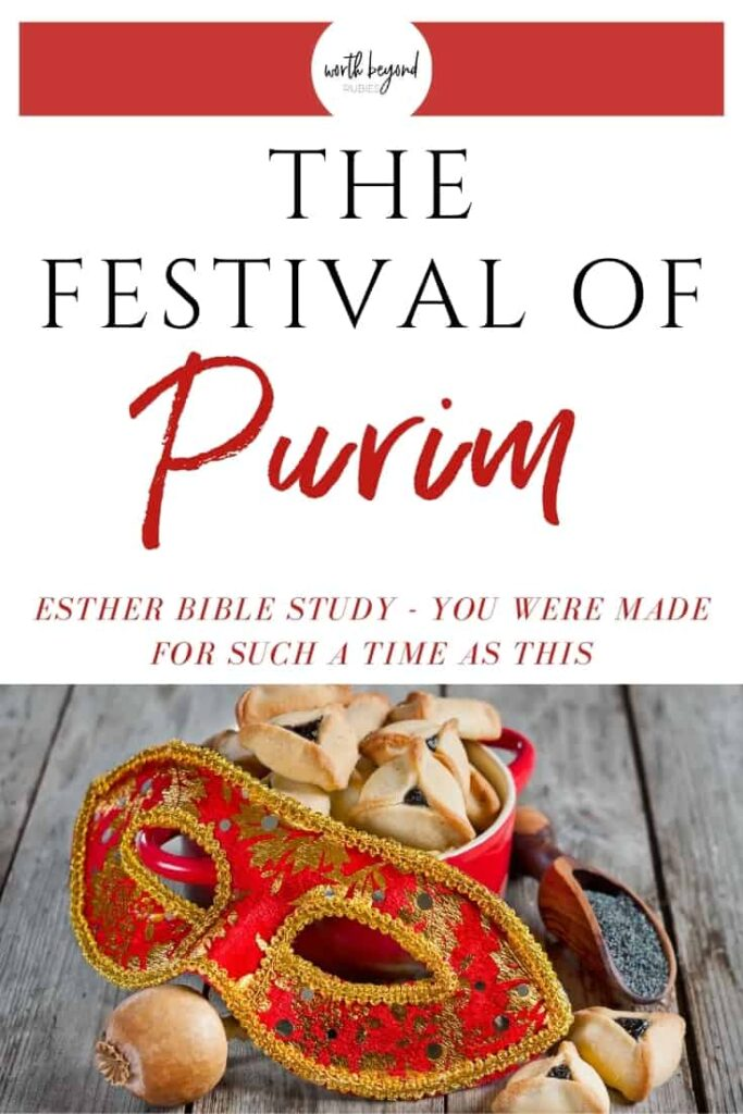 an image of a mask and hamentaschen and walnuts on a wooden table and text that says The Festival of Purim - Esther Bible Study - You Were Made for Such a Time as This