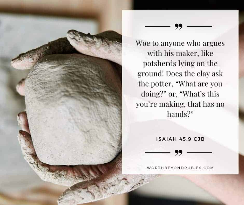an artists hands sculpt a ball of clay and Isaiah 45:9 quoted in the Complete Jewish Bible
