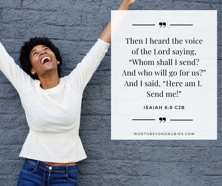woman with hands raised and Isaiah 6:8 quoted in Complete Jewish Bible