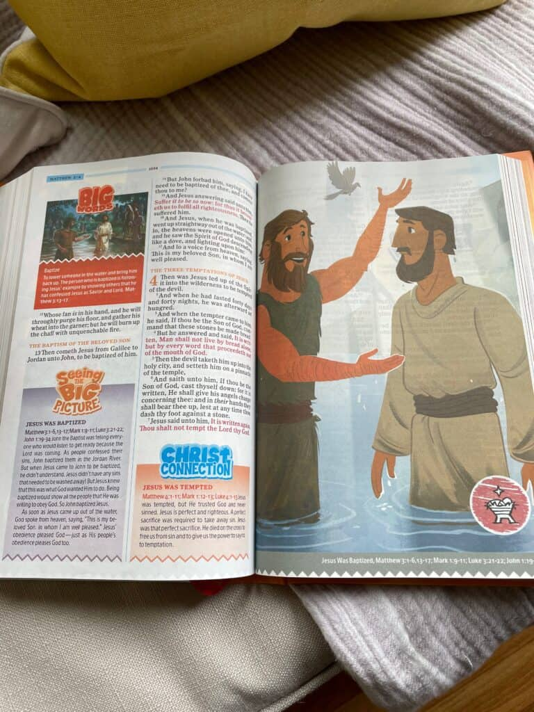 page from inside One Big Story KJV Bible