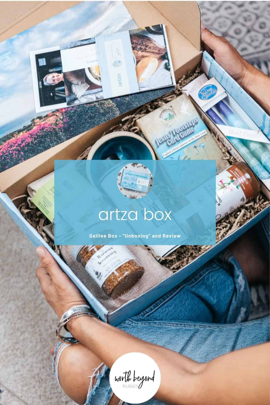 The Artza Box Galilee box open on a woman's lap and text that says Artza Box - Galilee Box Unboxing and Review