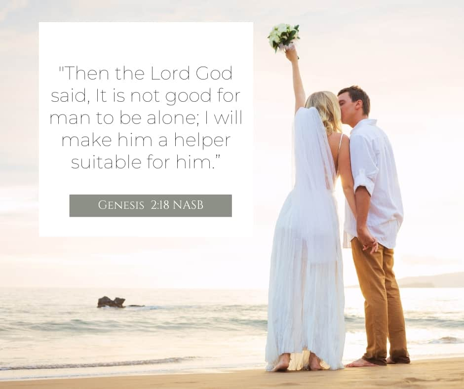 bride and groom on beach and Genesis 2:18 quoted in NASB 2020