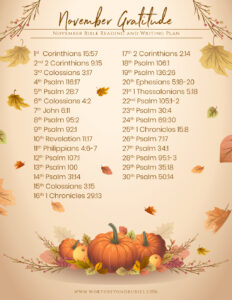 Worth Beyond Rubies Nov 2021 Bible Reading Plan with Theme of Gratitude